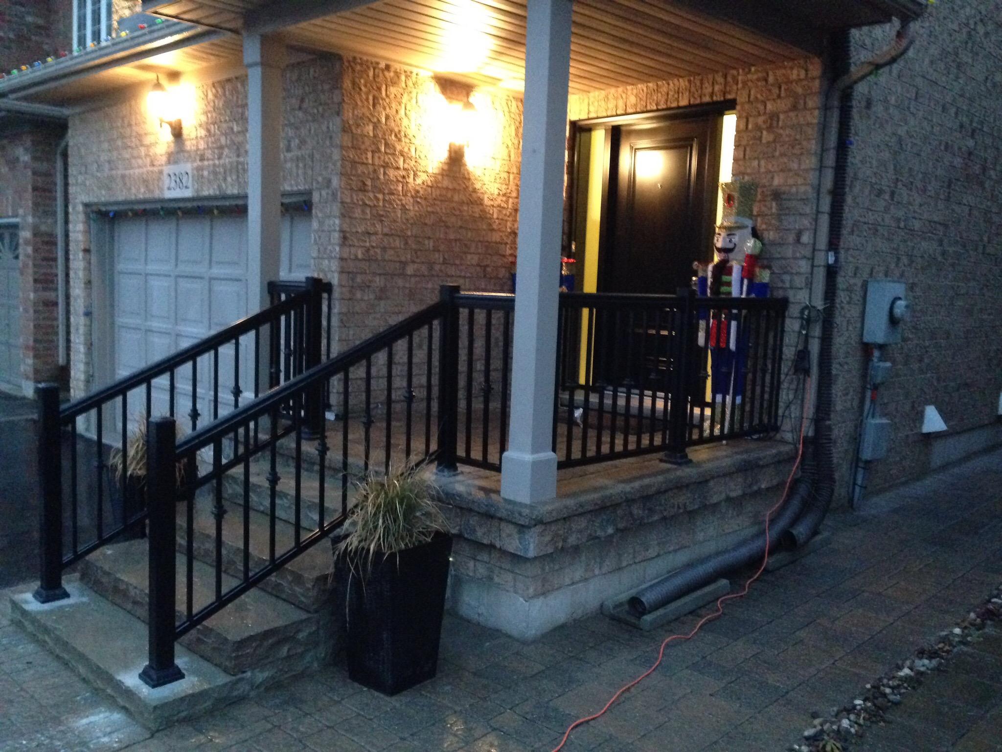 Residential porch aluminum railings oshawa gta